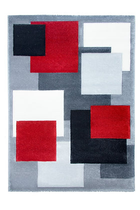 Tempo Square Rug-Black/Red/Grey