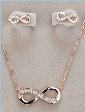 Rosegold Infinity Necklace & Earring Set