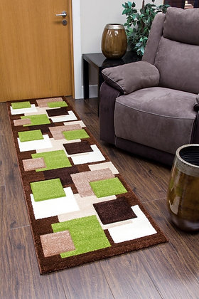 TEMPO SQUARES RUNNER RUG - BROWN/GREEN