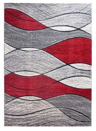 Impulse Waves Rug – Grey / Red