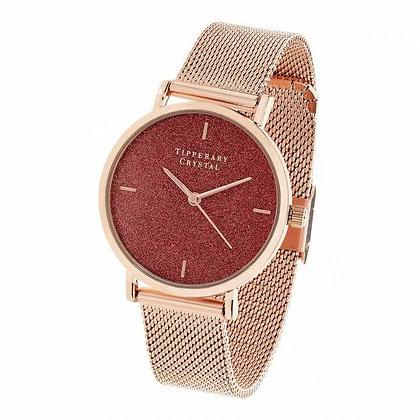 Rose Gold Pink Glitter Watch