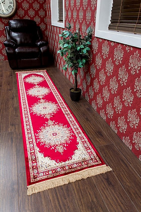 KASHMIR TRADITIONAL RED/CREAM RUNNER RUG - 12836