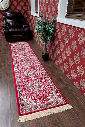 KASHMIR TRADITIONAL RED/CREAM RUNNER RUG - 12800