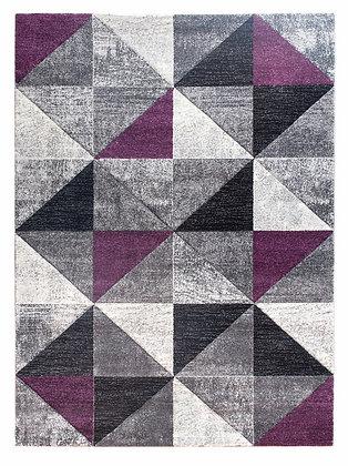 Impulse Triad Geometric Rug – Grey/Black/Purple