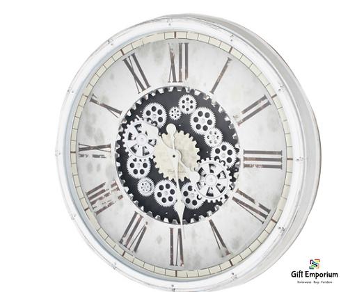 Clockworks gears clock ant white 76cm TH5052