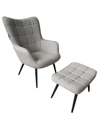 Fabric Chair with Stool