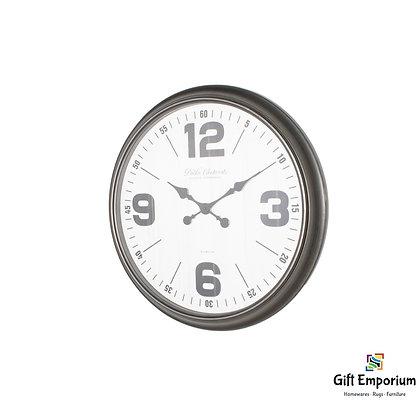Retro oversize wall clock 76cm antique silver B515