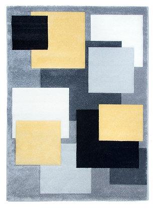 Tempo Square Rug-Black /Grey/Yellow