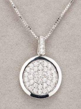 Silver Diamante Round Pendant