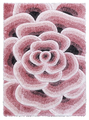 LUXUS FLOWERS - SHAGGY RUG - PINK