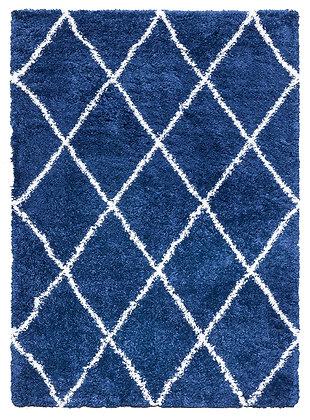 FANTASY TRELLIS SHAGGY - BLUE / CREAM Fireside Rug