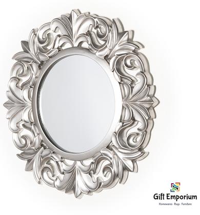 Abbey round ornate mirror ant silver 102cm B448DS