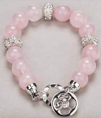 Silver Diamante & Rose Quartz Bracelet
