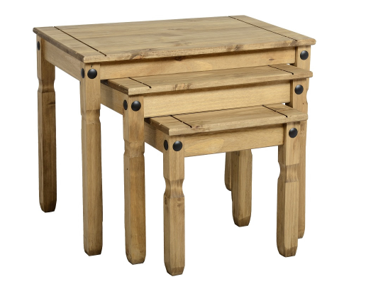 Waxed Pine Nest Table (Set of 3)