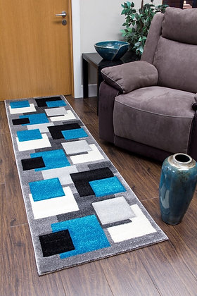 TEMPO SQUARES RUNNER RUG - BLACK/GREY/TEAL