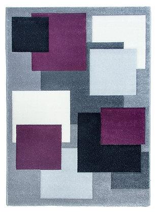 Tempo Square Rug-Black/Grey/Purple