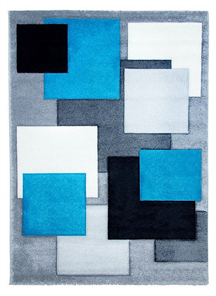 Tempo Square Rug-Grey/Teal
