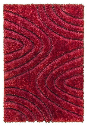 Luxus 3D Shaggy Rug - Ripple -Red