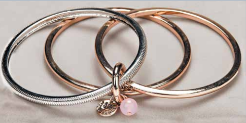 Rose/Gold & Silver/Rose Quartz Bangle