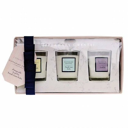 Set of 3 Assorted Mini Candles - Sweet Pea, Honeysuckle, French Linen