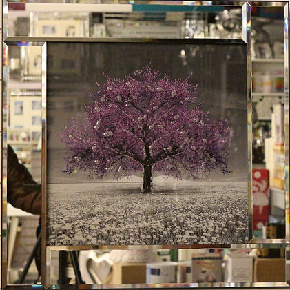 Purple Mirrored Border Tree