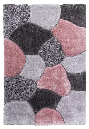 LUXUS STONES - SHAGGY RUG -GREY / PINK