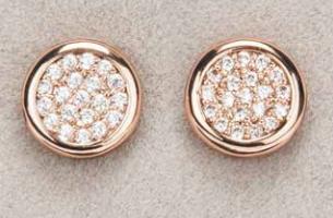 Rose Gold Diamante Round Earrings