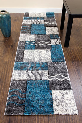 PRIMO RUNNER RUG - E335A - GREY/TEAL
