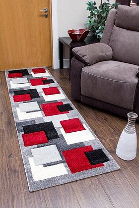 TEMPO SQUARES RUNNER RUG - BLACK/GREY/RED