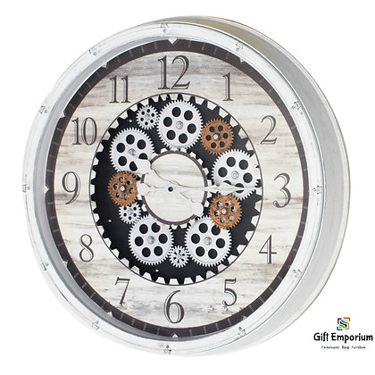 Clockworks gears clock ant white 50cm TH5054