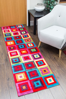 CANDY RUNNER RUG - SQUARES MULTICOLOURED