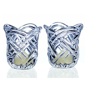 Pair - Two Clear Cup Ivory Tealights included