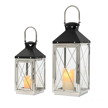 Set of 2 Chrome/Grey Lanterns Medium & Small