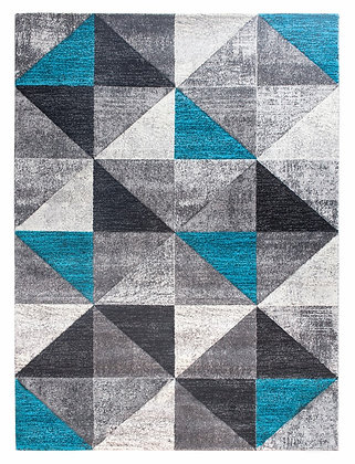 Impulse Triad Geometric Rug – Grey/Black/Teal