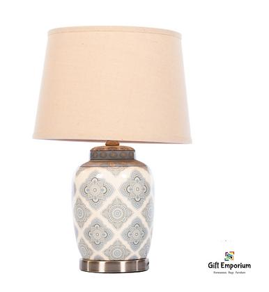 Lia ceramic lamp satin silver 57cm