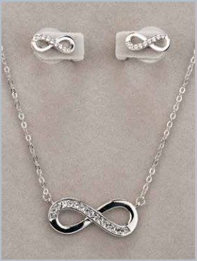 Silver Infinity Necklace & Earring Set