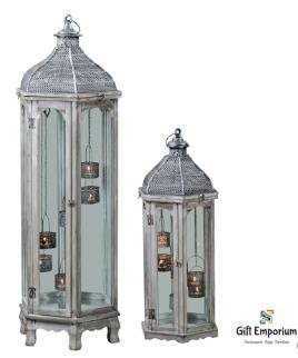 Agadir Set/Individual hex lanterns grey