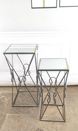 Set of Silver Mirrored Top Tables