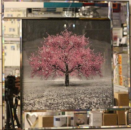 Pink Mirrored Border Tree