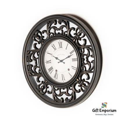 Mirrored lattice clock brushed charcoal 65cm SR1078