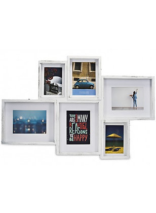 BRUSHED WHITE 6-PHOTO GALLERY FRAME