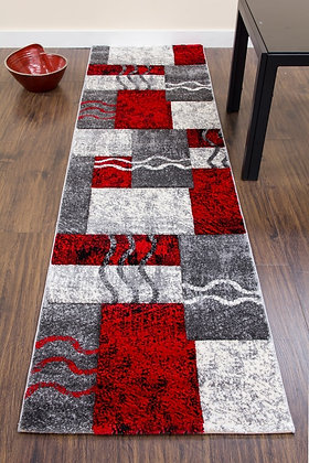 PRIMO RUNNER RUG - E335A - GREY/RED