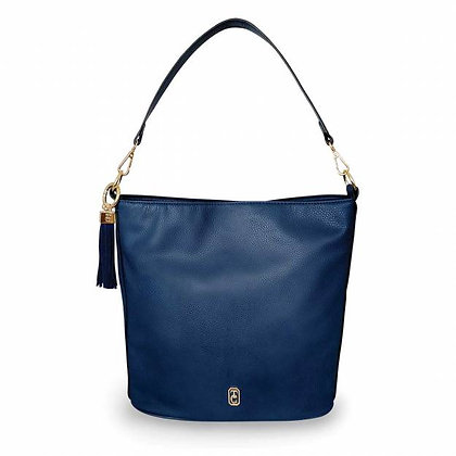 Surrey Navy Pebbled Leather Carry Bag