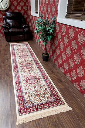 KASHMIR TRADITIONAL CREAM/RED RUNNER RUG - 12802