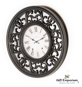 Mirrored lattice clock brushed charcoal 65cm