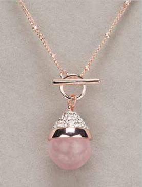 Rose Quartz T Bar Necklace