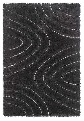 Luxus 3D Shaggy Rug - Ripple - Black