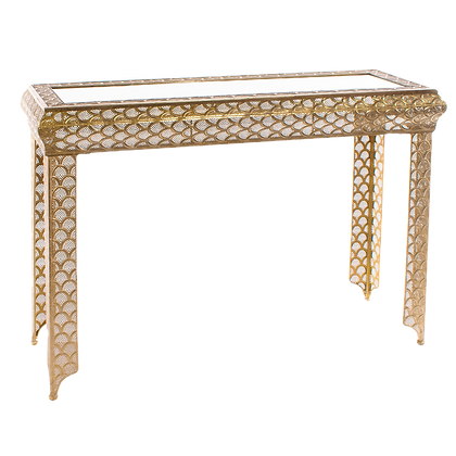 Gold Console Table Glass Top