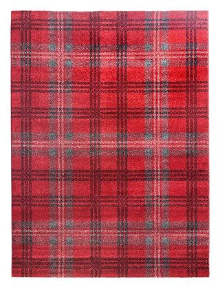 Glendale Tartan Rug-Grey/Red
