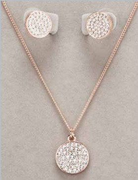 Rose Gold Round Diamante Necklace & Earring Set